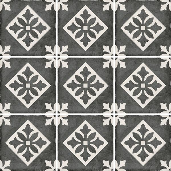 Equipe Art Nouveau Padua Black 20 x 20 cm